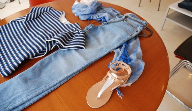 MSGM top, ANCIENT GREEK SANDALS, ACNE STUDIOS jeans, TRAITS scarf